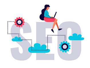 SEO written in bold letters and decorated with illustrations suggests an advanced search engine optimization process by a specialized person working on her laptop.