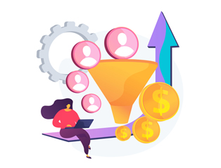 An illustrated image shows the conversion rate optimization concept with funnels, landing pages and lead generation marketing.