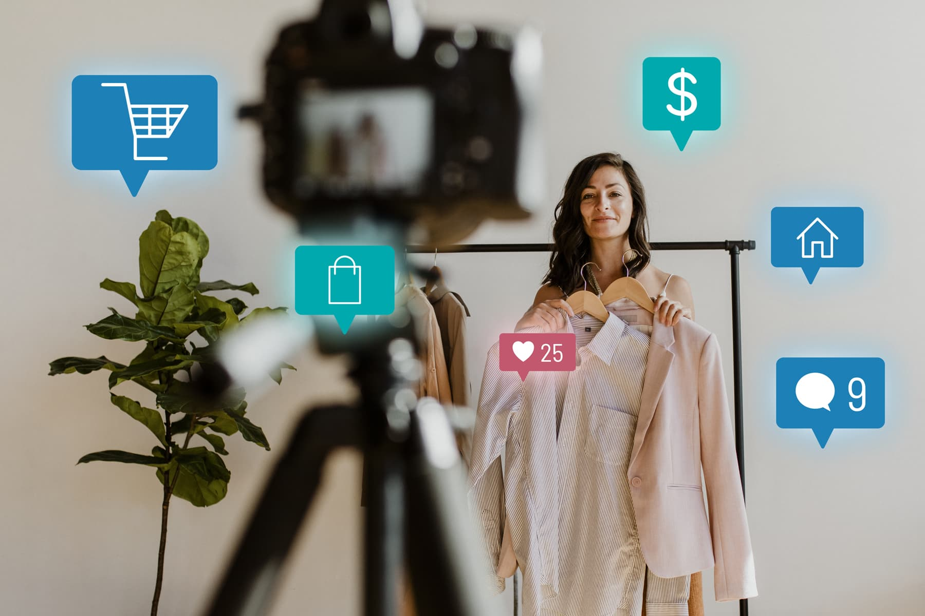 A young woman showcases her clothing products and gains sales, likes, and comments during the live streaming shopping campaign.