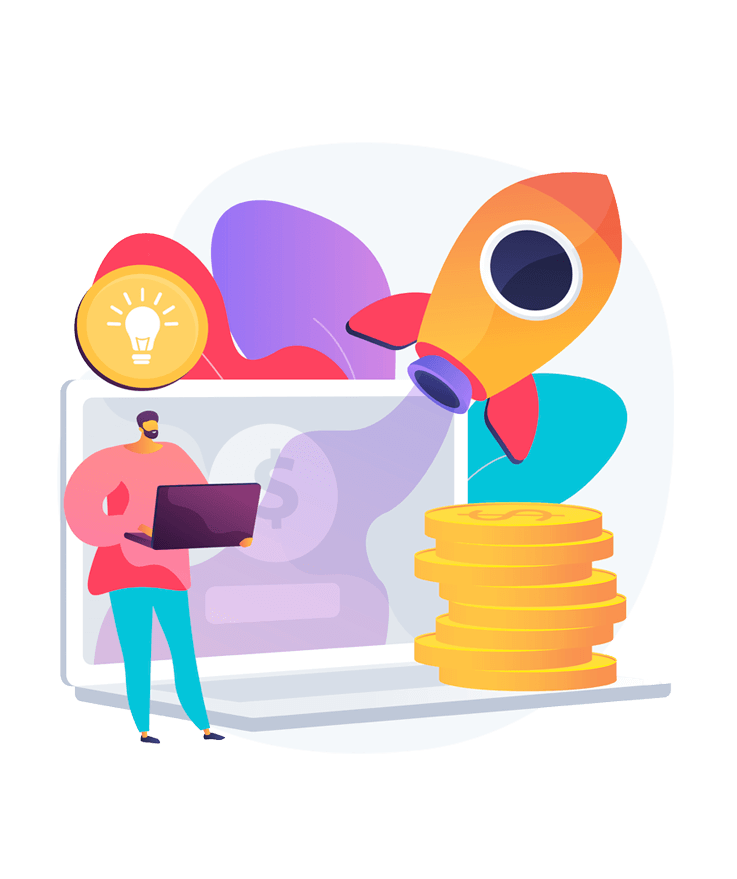 An illustration of a man standing in front of the laptop with a pile of money next to him and a rocket flying out of the screen suggests the great benefits small businesses can get by utilizing digital marketing.