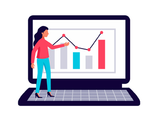 A miniature woman standing on the opened laptop and pointing at the screen with the graph describes easy-to-understand analytics in an illustrative way.