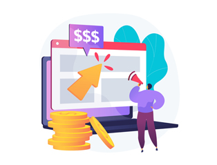 An illustration describes the abstract concept of digital ads and PPC campaigns.
