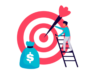 An illustration of a big target, a bag of money, and a man climbing up the ladder and aiming the dart into the centre of the target symbolizes optimized conversions with landing pages and chatbots.