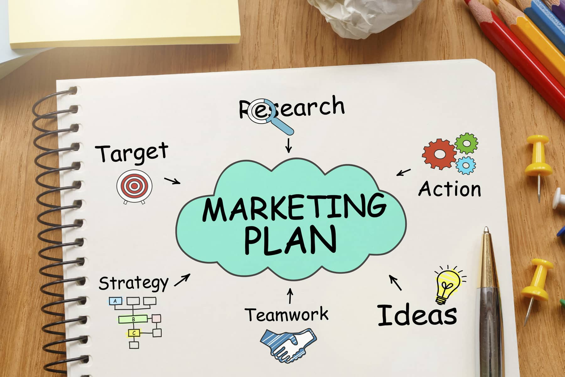 A notebook filled with different icons shows what it takes to build a marketing plan.