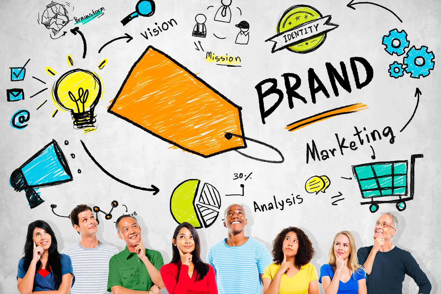 Diverse people thinking about marketing plans to grow their brands and businesses.