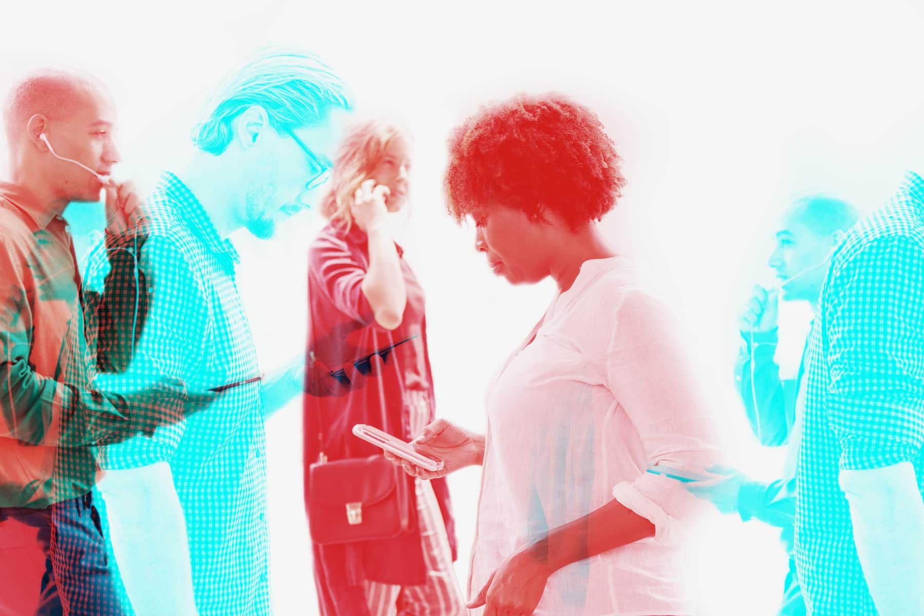 People using digital services optimized for their mobile devices in double colour exposure effect.