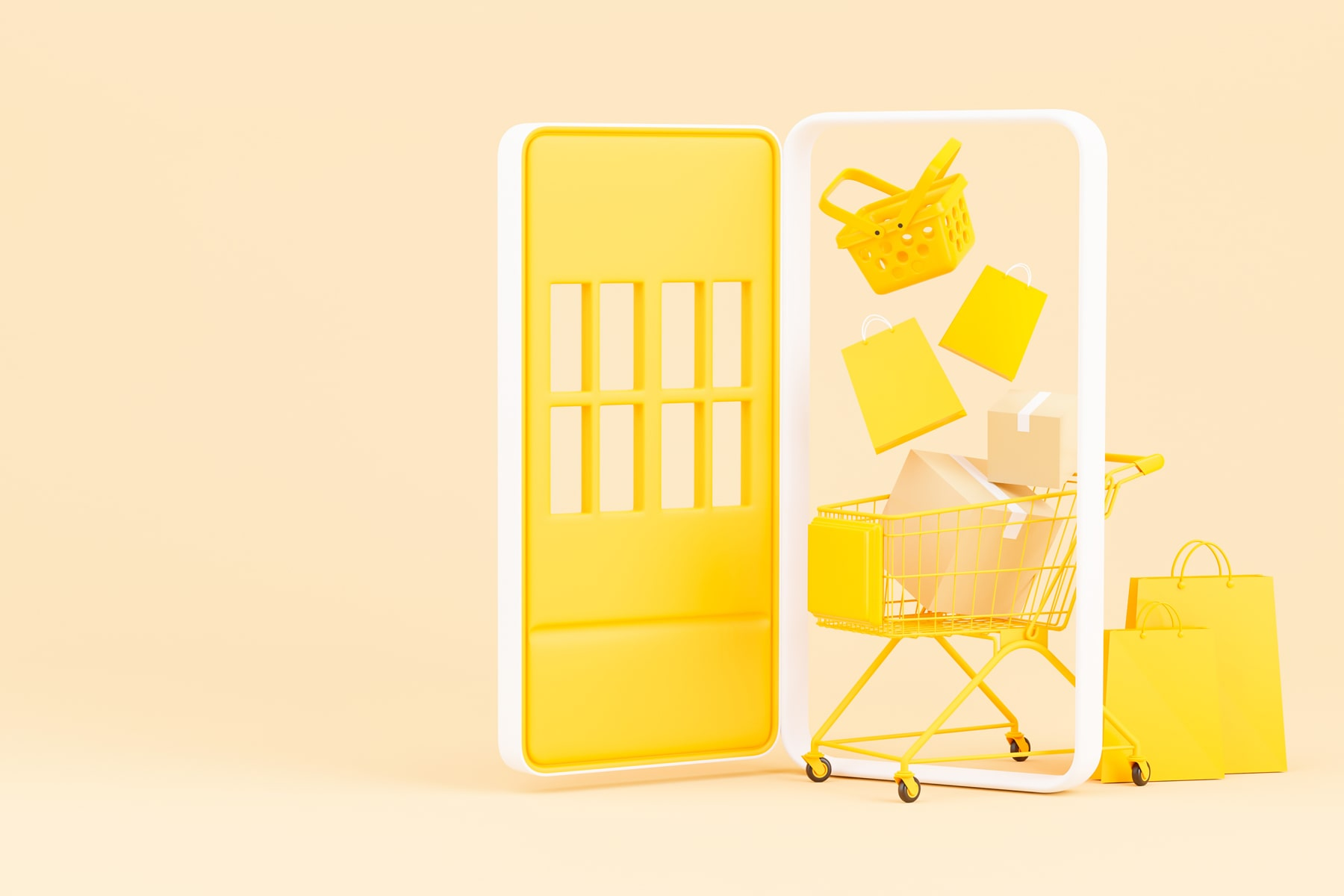 3d rendered image of a yellow smartphone that's turning into open doors to invite online shopping.