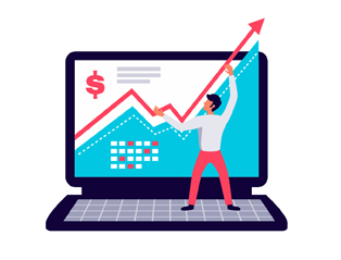 Illustrated man holds the upward arrow on the laptop screen pointing at the results in dollars when investing in paid search and social media advertising.