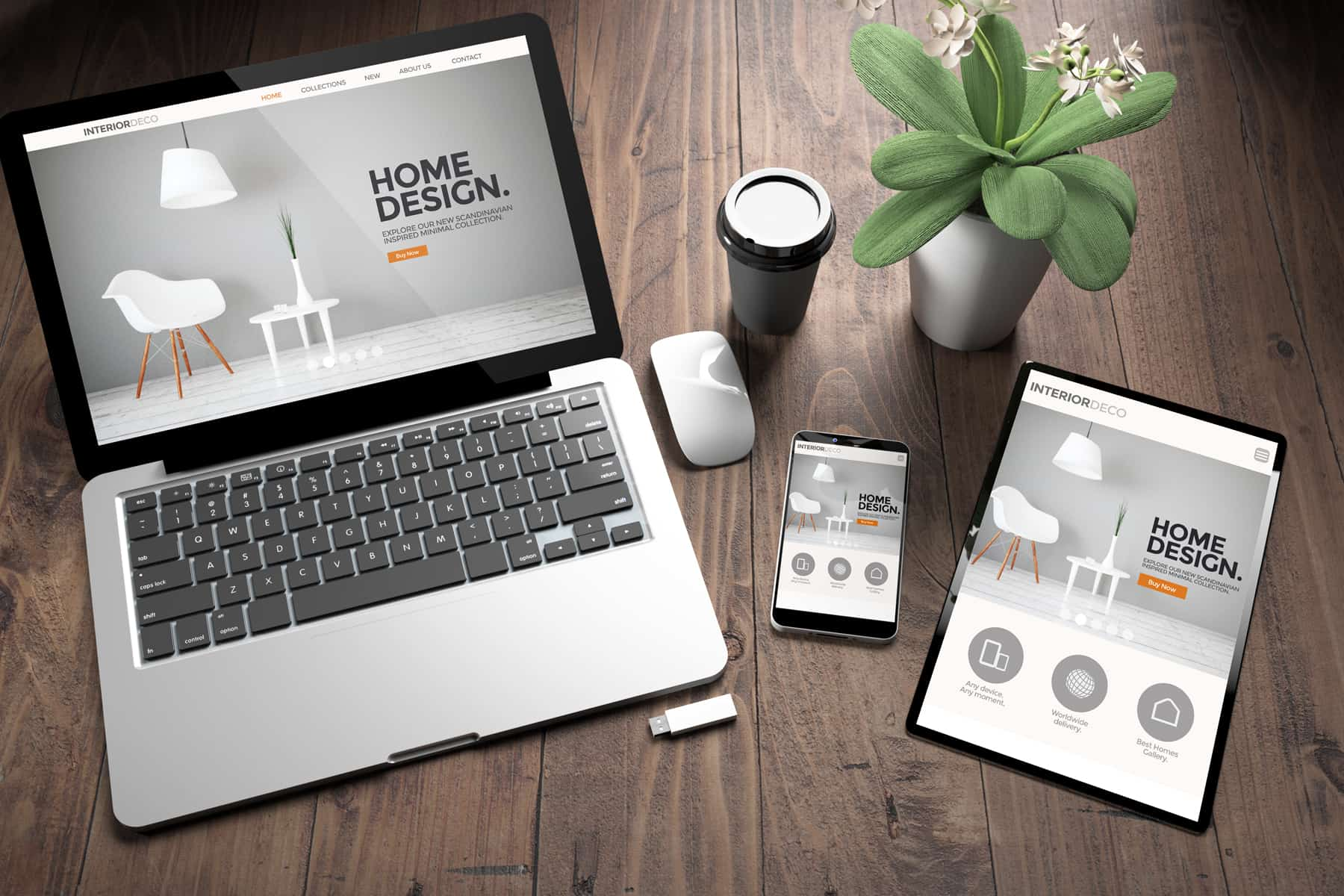 Spread across the wooden table, a laptop, a tablet, and a smartphone display the same home design website pointing at the power of responsive web design.