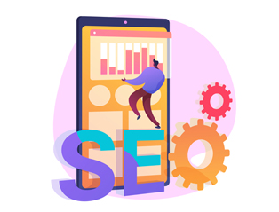 An illustration depicts a digital marketing company manager standing on big chunky letters spelling SEO and arranging analytics on the oversized smartphone screen.
