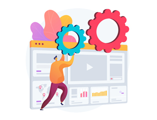 Advertising reports and website analytics provided by the digital marketing company presented in an abstract illustration.